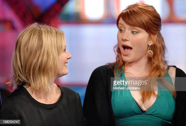 Kirsten Dunst and Bryce Dallas Howard during The Cast of SpiderMan 3 Visits MTV's TRL May 1 2007 at MTV Studios in New York City New York United...