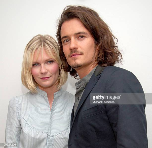 Kirsten Dunst and Orlando Bloom during Kirsten Dunst and Orlando Bloom Visit MTV's 'TRL' October 10 2005 at MTV Studios Times Square in New York City...