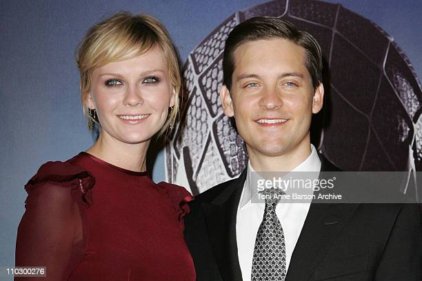 """Kirsten Dunst and Tobey Maguire during """"Spider-Man 3"""" Paris Premiere - Inside Arrivals at Le Grand Rex Theater in Paris, France."""