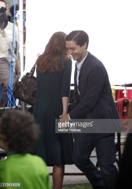 Kirsten Dunst and Tobey Maguire on the set of SpiderMan 3 on location in Foley Square lower Manhattan June 10 2006