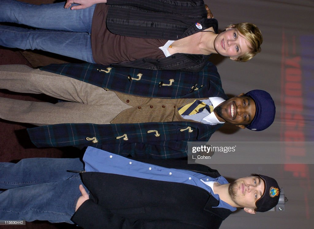 Kirsten Dunst, Andre 3000 and Leonardo DiCaprio at the Declare Yourself 'Hollywood Celebrates Democracy' event on March 2. Declare Yourself is a national nonpartisan, nonprofit campaign to energize and empower a new movement of young voters to participate in the 2004, www.DeclareYourself.com