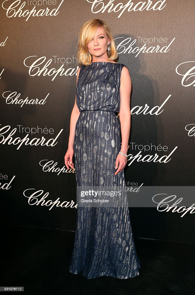 Kirsten Dunst arrives at the Chopard Trophy Ceremony at the annual 69th Cannes Film Festival at Hotel Martinez on May 12, 2016 in Cannes, France.