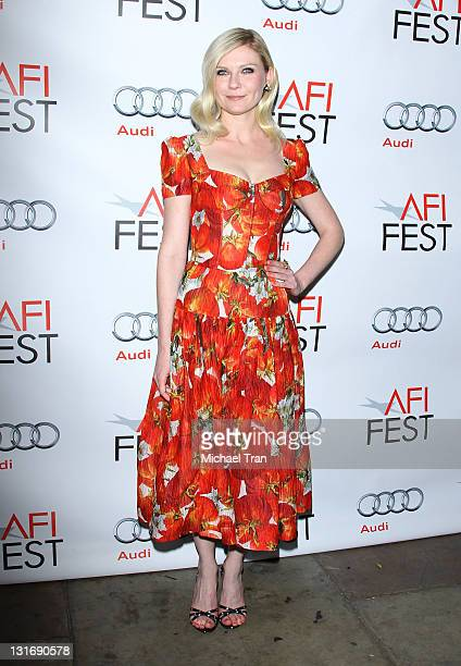 Kirsten Dunst arrives at the special screening of 'Melancholia' held at the American Cinematheque's Egyptian Theatre on November 6 2011 in Hollywood...