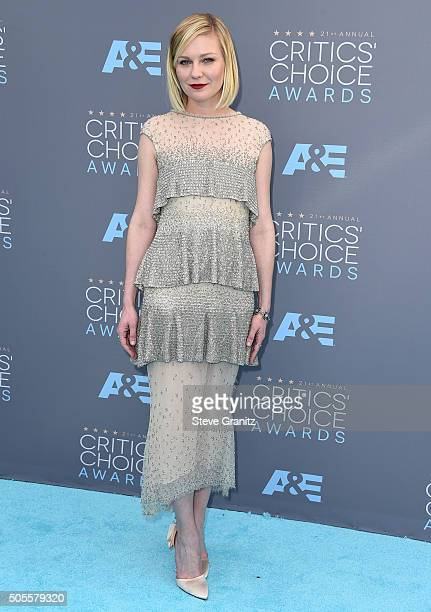 Kirsten Dunst arrives at the The 21st Annual Critics' Choice Awards at Barker Hangar on January 17 2016 in Santa Monica California