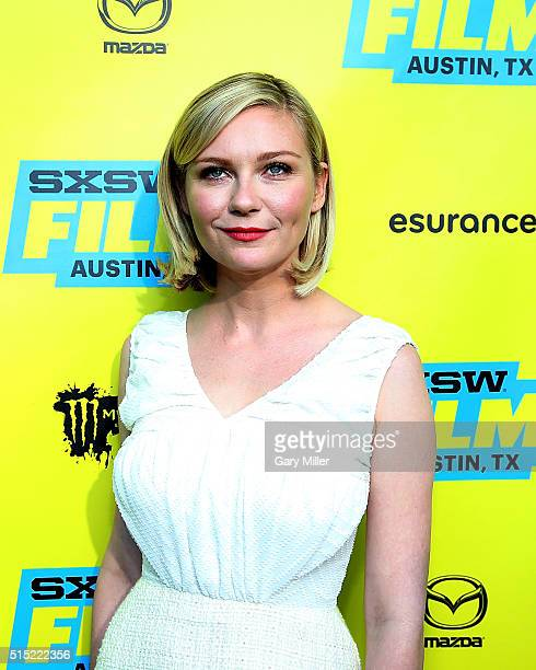 Kirsten Dunst attends the premiere of her film 'Midnight Special' at the Paramount Theater during the South by Southwest Film Festival on March 12...