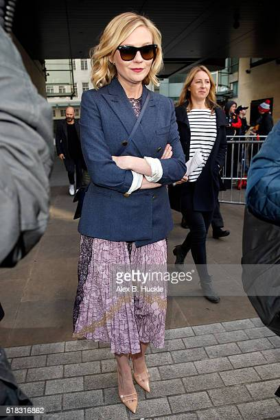 Kirsten Dunst seen leaving the BBC Radio 1 Studios on March 31 2016 in London England