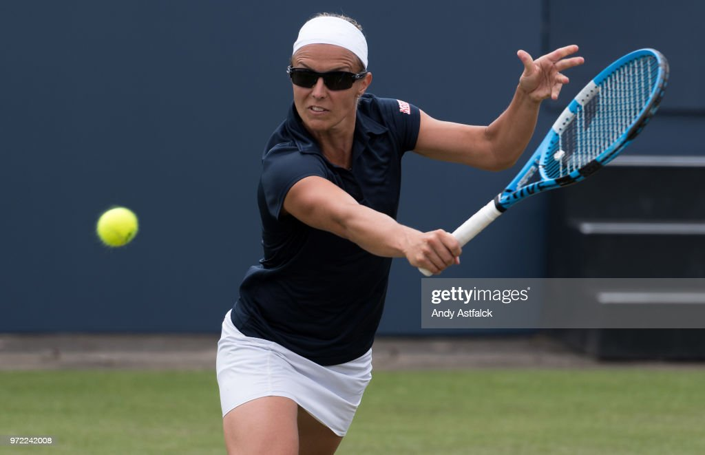 Kirsten Flipkens of Belgium hits a backhand during her Ladies Singles, first round match against Anna Kalinskaya of Russia on day two of the Libema Open 2018 on June 12, 2018 in Rosmalen, Netherlands.