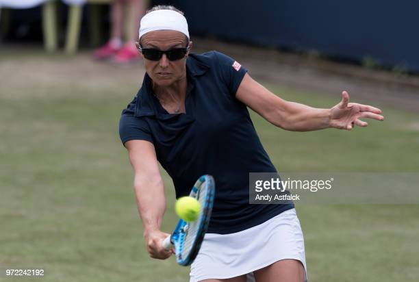 Kirsten Flipkens of Belgium hits a backhand during her Ladies Singles first round match against Anna Kalinskaya of Russia on day two of the Libema...