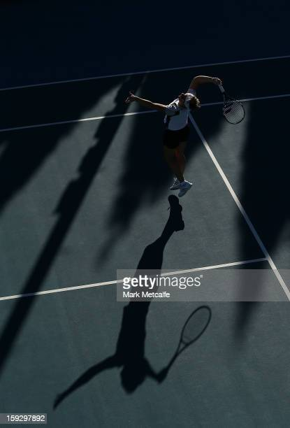 Kirsten Flipkens of Belgium hits a smash in warm up before her semi final match against Mona Barthel of Germany during day eight of the Hobart...