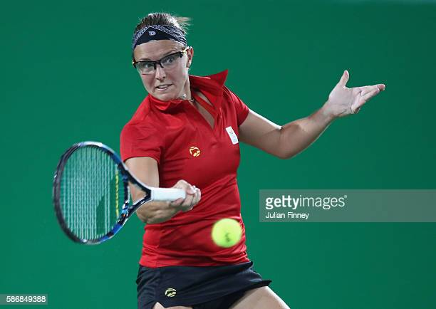 Kirsten Flipkens of Belgium in action against Venus Williams of USA in the women's first round on Day 1 of the Rio 2016 Olympic Games at the Olympic...