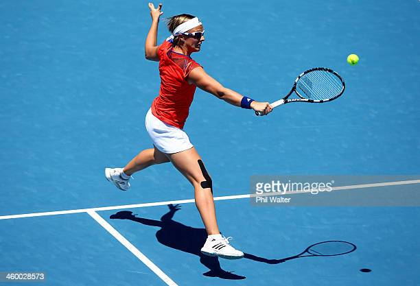 Kirsten Flipkens of Belgium plays a backhand during her quarterfinal match against Sachie Ishizu of Japan during day four of the ASB Classic at ASB...