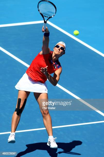 Kirsten Flipkens of Belgium plays a forehand during her quarterfinal match against Sachie Ishizu of Japan during day four of the ASB Classic at ASB...