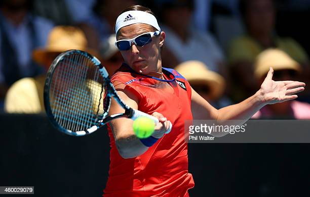 Kirsten Flipkens of Belgium plays a forehand during her quarterfinal match against Sachie Ishizu of Japan during day four of the ASB Classic at the...