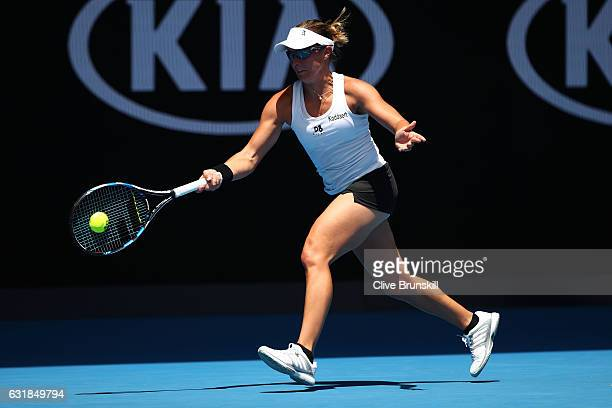Kirsten Flipkens of Belgium plays a forehand in her first round match against Johanna Konta of Great Britain on day two of the 2017 Australian Open...