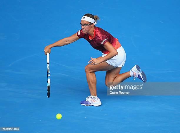 Kirsten Flipkens of Belgium plays a forehand in her second round match against Garbine Muguruza of Spain during day four of the 2016 Australian Open...