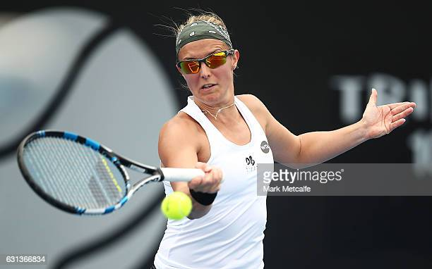 Kirsten Flipkens of Belgium plays a forehand in her second round match against Monica Niculescu of Romania during day one of the 2017 Hobart...