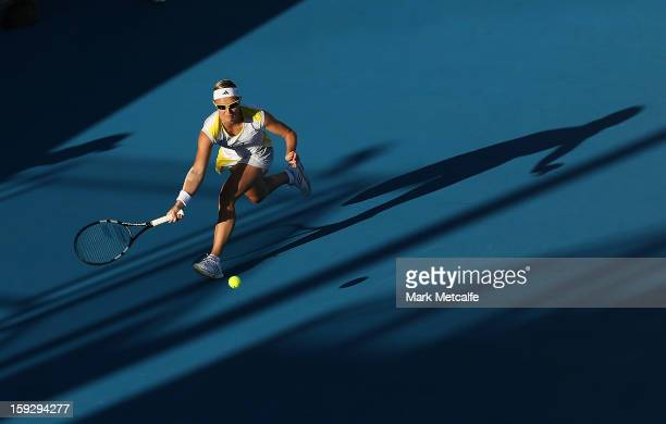 Kirsten Flipkens of Belgium plays a forehand in her semi final match against Mona Barthel of Germany during day eight of the Hobart International at...