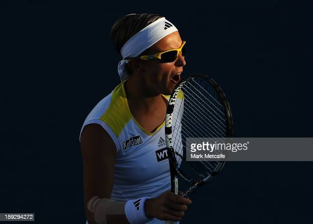 Kirsten Flipkens of Belgium reacts to losing a point in her semi final match against Mona Barthel of Germany during day eight of the Hobart...