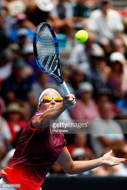 Kirsten Flipkens of Belguim plays a forehand against Tamira Paszek of Austria during day four of the 2016 ASB Classic at ASB Tennis Arena on January...