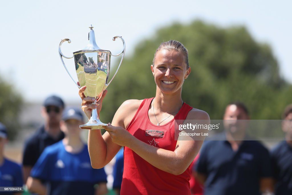 Kirsten Flipkins of Belgium poses with the Winners Trophy after her victory over Katie Boulter of Great Britain in the Womens Singles Final match during of the Fuzion 100 Southsea Trophy at Canoe Lake Leisure on June 29, 2018 in Portsmouth, United Kingdom.