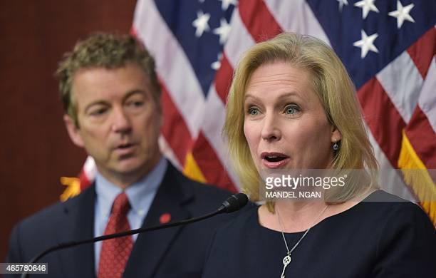 Kirsten Gillibrand DNY speaks during a press conference with Senator Rand Paul RKY to announce a new medical marijuana bill at the US Capitol on...