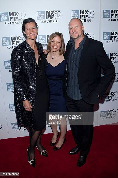 Kirsten Johnson Katy Scoggin and Trevor Paglen attend the Citizenfour premiere during the 52nd New York Film Festival at Alice Tully Hall in New York...