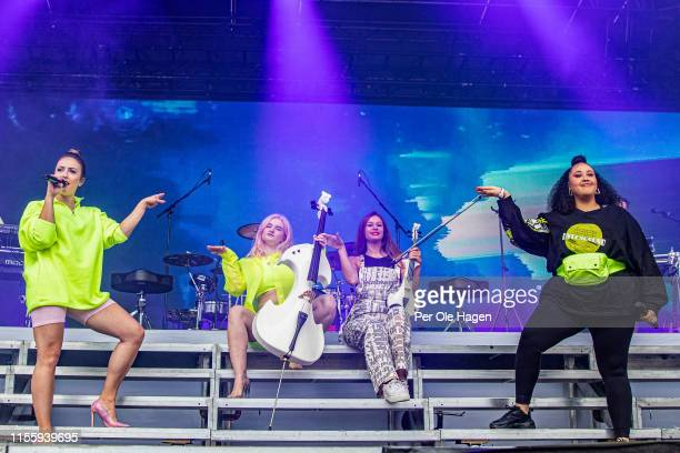 Kirsten Joy Grace Chatto Stephanie Benedetti and Yasmin Green from Clean Bandit on stage at Bergenfest on June 14 2019 in Bergen Norway