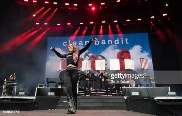 Kirsten Joy performs with Clean Bandit live on stage during V Festival 2017 at Hylands Park on August 20 2017 in Chelmsford England