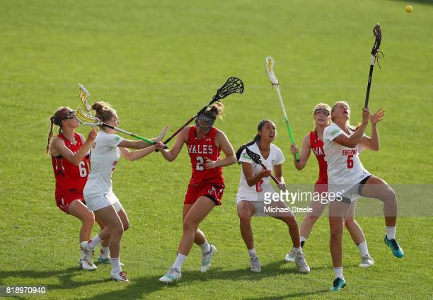 Kirsten Lafferty of England compete for the ball during the quarter final match between England and Wales during the 2017 FIL Rathbones Women's...