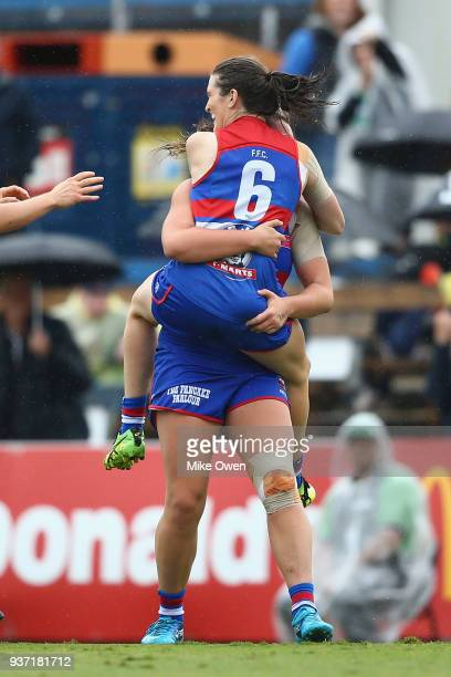 Kirsten McLeod of the Bulldogs celebrates after kicking a goal during the AFLW Grand Final match between the Western Bulldogs and the Brisbane Lions...