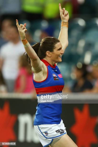 Kirsten McLeod of the Bulldogs celebrates kicking a goal during the round six AFLW match between the Greater Western Sydney Giants and the Western...