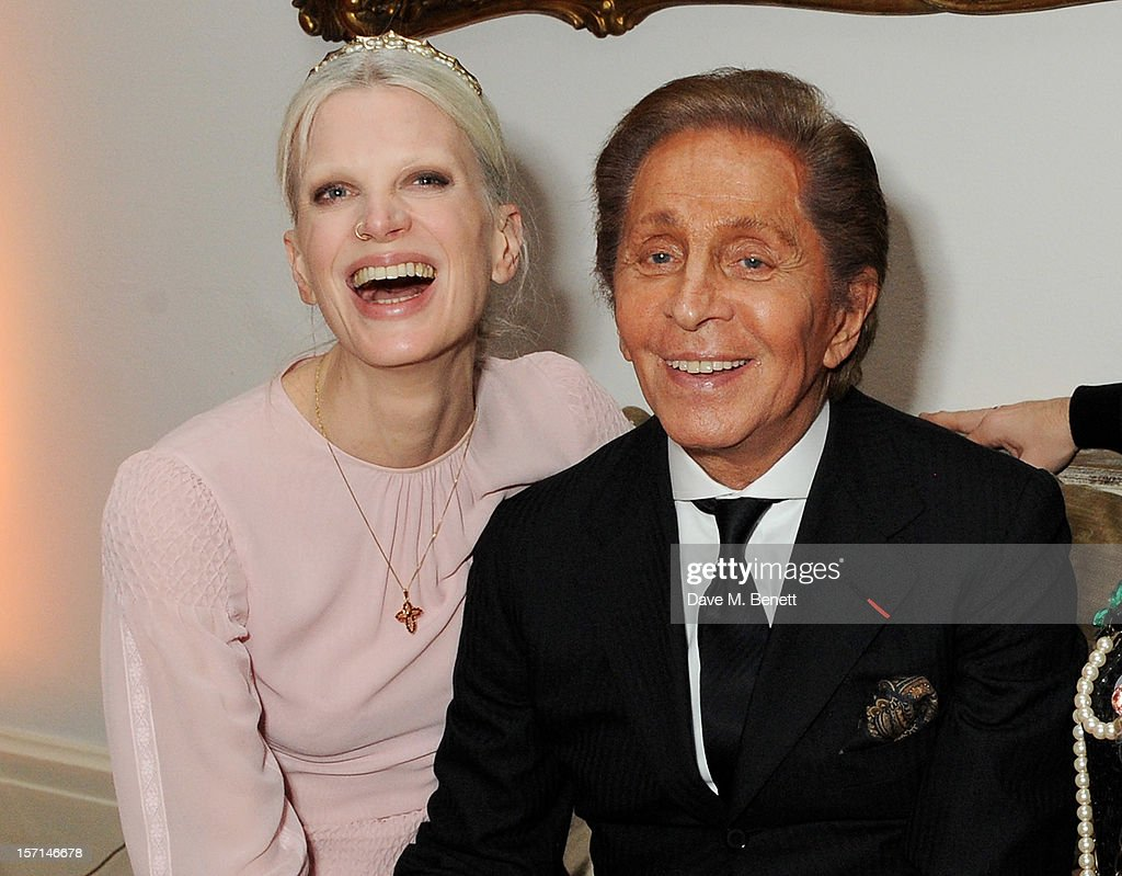 Kirsten McMenamy (L) and Valentino Garavani attend a dinner celebrating the launch of 'Valentino: Master Of Couture', the new exhibition showing at Somerset House from November 29, 2012 to March 3, 2013, at the Italian Embassy on November 28, 2012 in London, England.