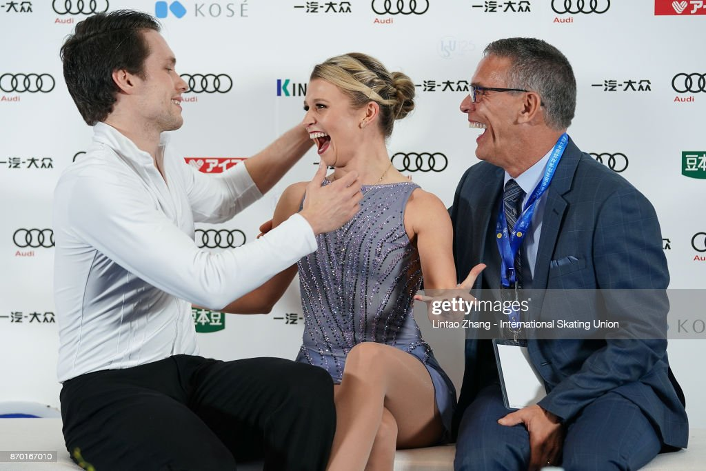 Kirsten Moore-Towera and Michael Marinaro of Canada react after competing in the Pairs Free Skating on day two of Audi Cup of China ISU Grand Prix of Figure Skating 2017 at Beijing Capital Gymnasium on November 4, 2017 in Beijing, China.