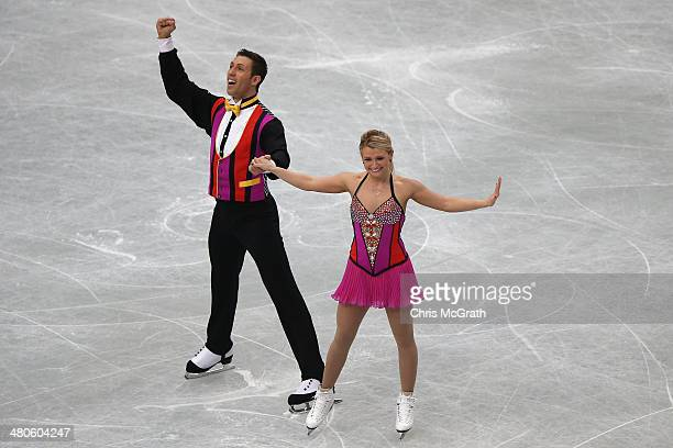 Kirsten MooreTowers and Dylan Moscovitch of Canada compete in the Pairs Short Program during ISU World Figure Skating Championships at Saitama Super...