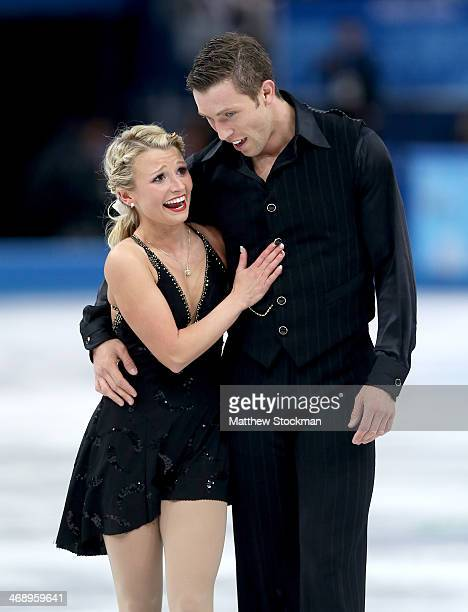Kirsten MooreTowers and Dylan Moscovitch of Canada react after competing in the Figure Skating Pairs Free Skating during day five of the 2014 Sochi...