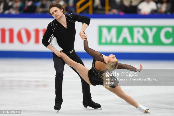 Kirsten MooreTowers and Michael Marinaro of Canada compete in the Pairs free skating during day 2 of the ISU World Figure Skating Championships 2019...