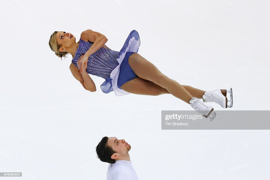 Kirsten Moore-Towers and Michael Marinaro of Canada compete in the Pairs Free Skating during day two of 2017 Bridgestone Skate America at Herb Brooks Arena on November 25, 2017 in Lake Placid, New York.