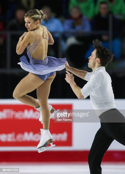 Kirsten MooreTowers and Michael Marinaro of Canada compete in the free pair program during the 2018 Canadian Tire National Skating Championships game...