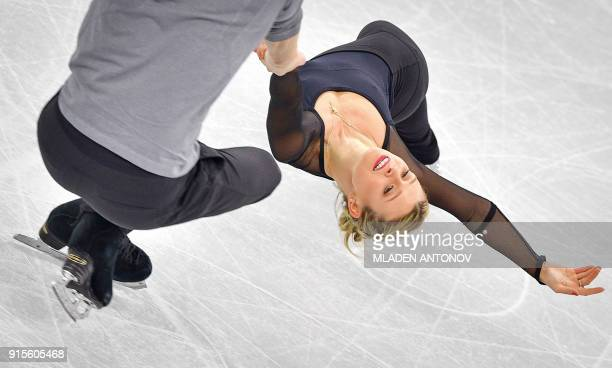 TOPSHOT Kirsten MooreTowers and Michael Marinaro of Canada practise at Gangneung Ice Arena ahead of the pairs figure skating competition of the...