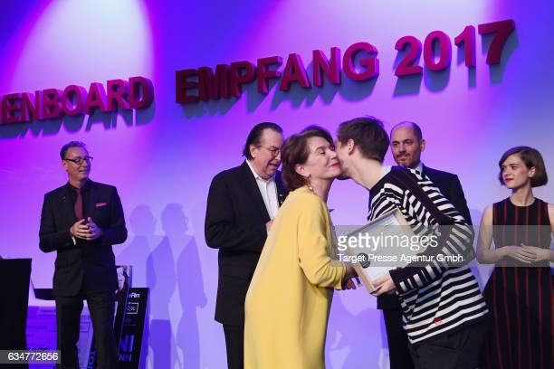Kirsten Niehuus and Jonas Nay are seen on stage at the Medienboard Berlin-Brandenburg Reception during the 67th Berlinale International Film Festival...