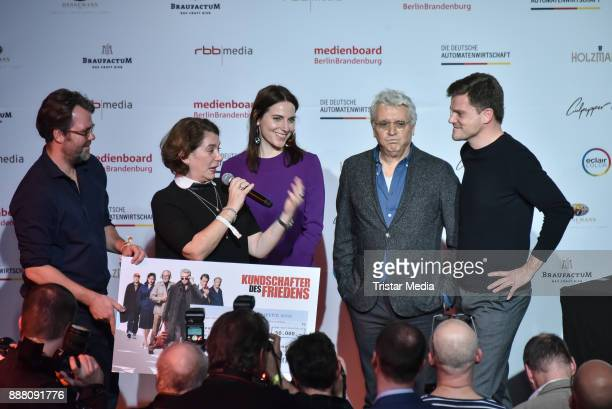 Kirsten Niehuus Antje Traue and Henry Huebchen during the Medienboard PreChristmas Party at Schwuz at Saeaelchen on December 7 2017 in Berlin Germany