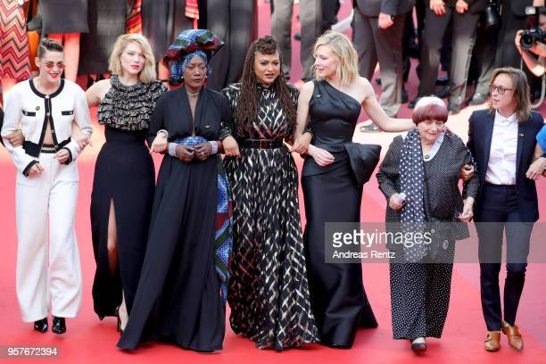 Kirsten Stewart, Lea Seydoux, Khadja Nin, Ava DuVernay and Cate Blanchett walk the red carpet in protest of the lack of female filmmakers honored...