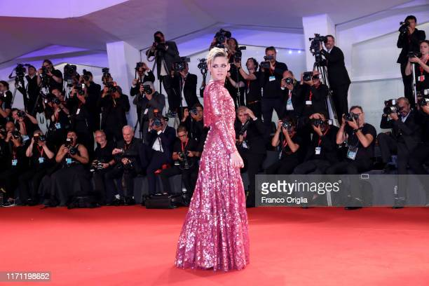 Kirsten Stewart walks the red carpet ahead of the Seberg screening during the 76th Venice Film Festival at Sala Grande on August 30 2019 in Venice...
