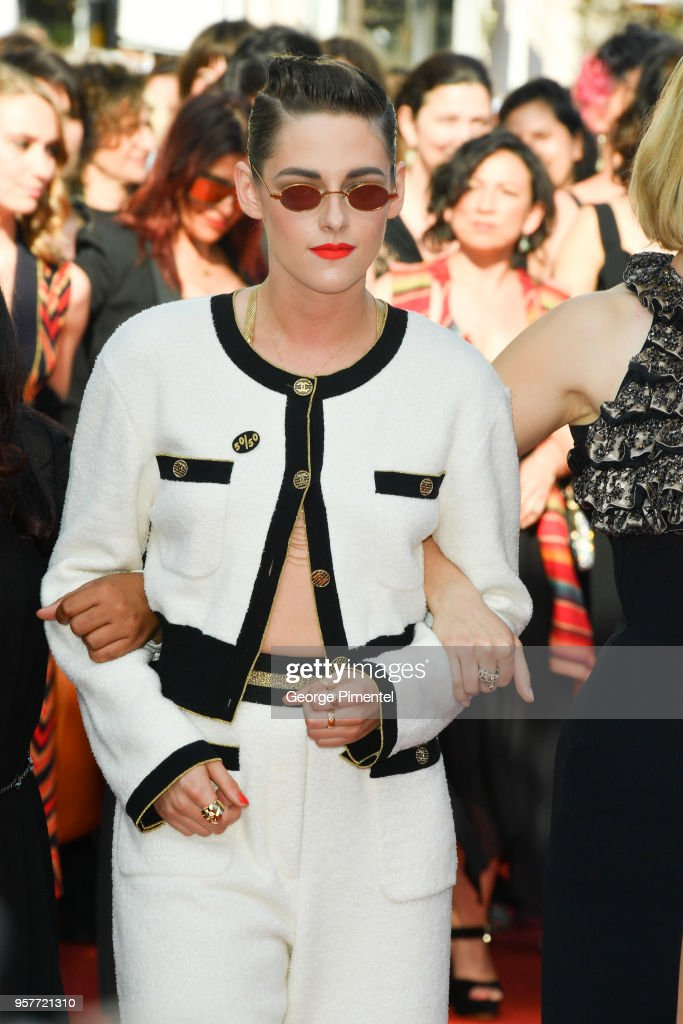 Kirsten Stewart walks the red carpet in protest of the lack of female filmmakers honored throughout the history of the festival at the screening of 'Girls Of The Sun (Les Filles Du Soleil)' during the 71st annual Cannes Film Festival at the Palais des Festivals on May 12, 2018 in Cannes, France. Only 82 films in competition in the official selection have been directed by women since the inception of the Cannes Film Festival whereas 1,645 films in the past 71 years have been directed by men.