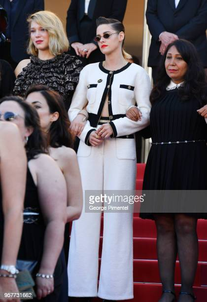 Kirsten Stewart walks the red carpet in protest of the lack of female filmmakers honored throughout the history of the festival at the screening of...
