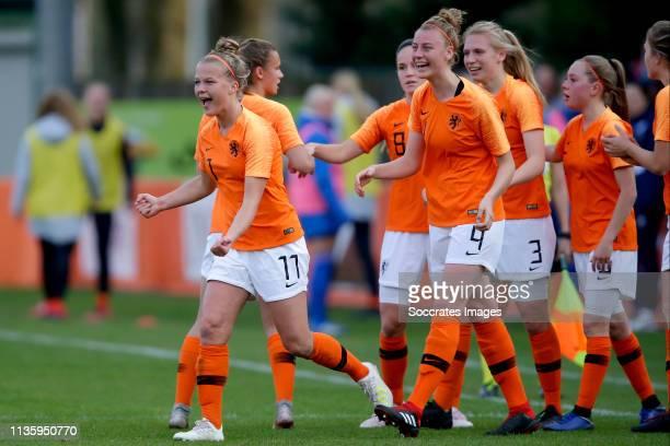 Kirsten van de Westeringh of Holland Women U19, Joelle Smits of Holland Women U19, Lieske Carleer of Holland Women U19 celebrate goal during the...