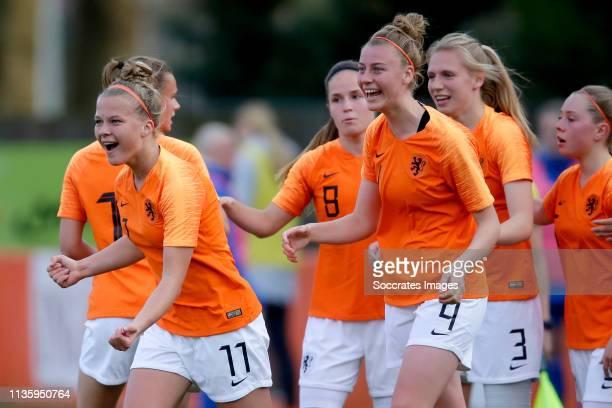 Kirsten van de Westeringh of Holland Women U19. Marisa Olislagers of Holland Women U19, Joelle Smits of Holland Women U19, Lieske Carleer of Holland...