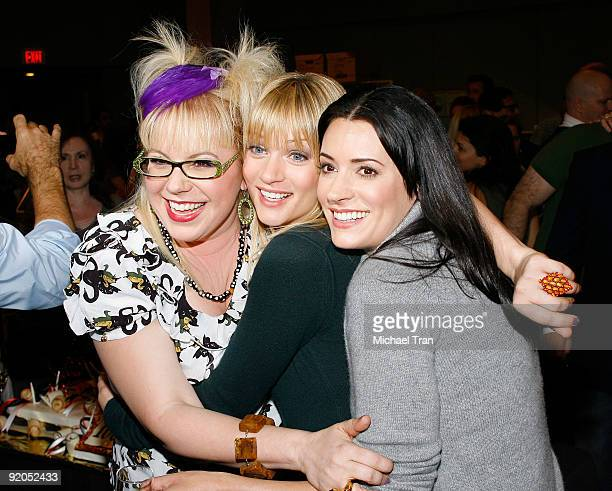 "Kirsten Vangsness, A.J. Cook and Paget Brewster attend the 100th episode cake-cutting ceremony of the television show ""Criminal Minds"" held at..."