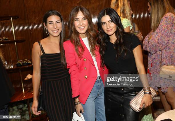 Kirsten Vogel Lidia Pefaur and Giordana Vogel are seen at the Alexandre Birman Bal Harbor Store Opening Event on November 8 2018 in Miami Florida