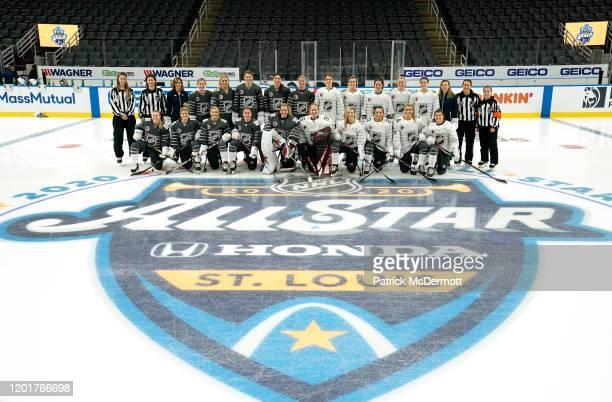 Kirsten Welsh Kendall Hanley Head Coach Cammi Granato of the American AllStars Jocelyne LamoureuxDavidson Annie Pankowski Lee Stecklein Hilary Knight...